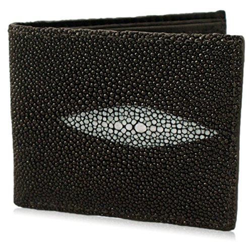 Genuine Stingray Bifold Leather Wallet ( 6 Card Slots, Black (Stingray Card)