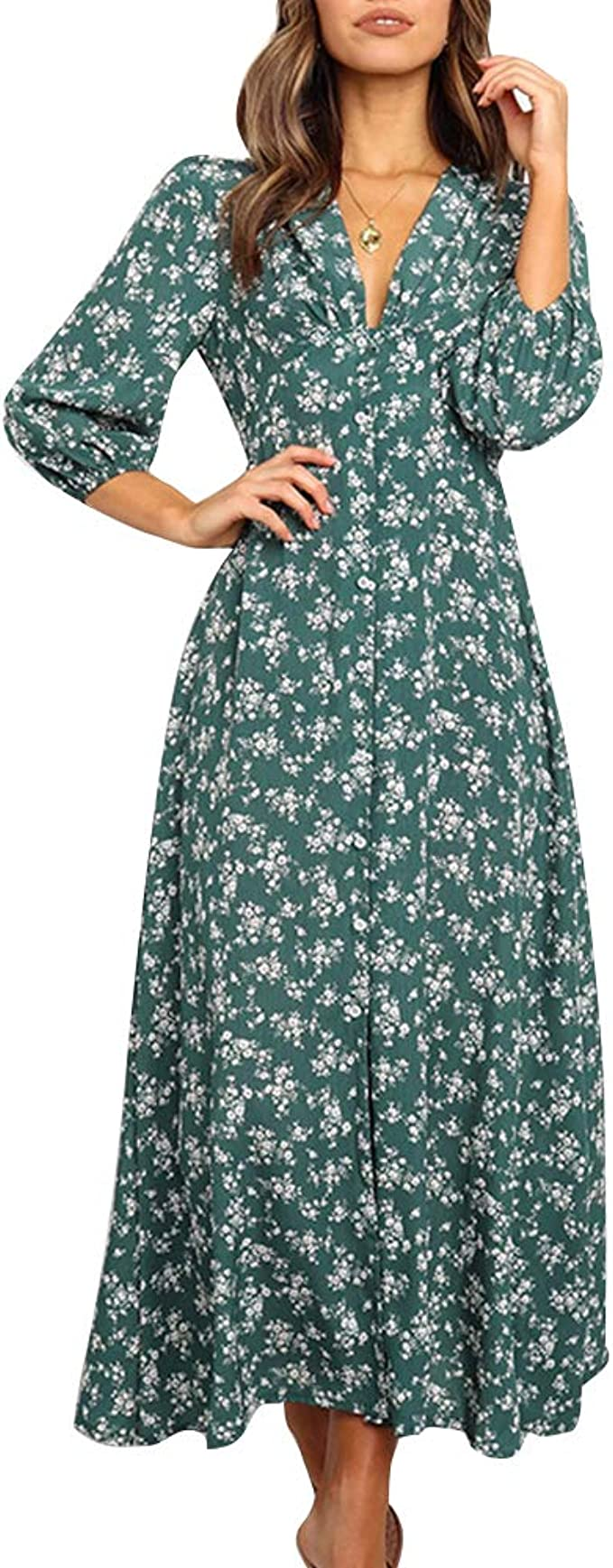 Sommerkleid Damen V-Ausschnitt Maxikleid Hemdkleid Lang Schick Elegant  Chiffon Gestreifte Langarm Blusenkleid Shirt Kleid Oberteil Kleid  Strandkleid