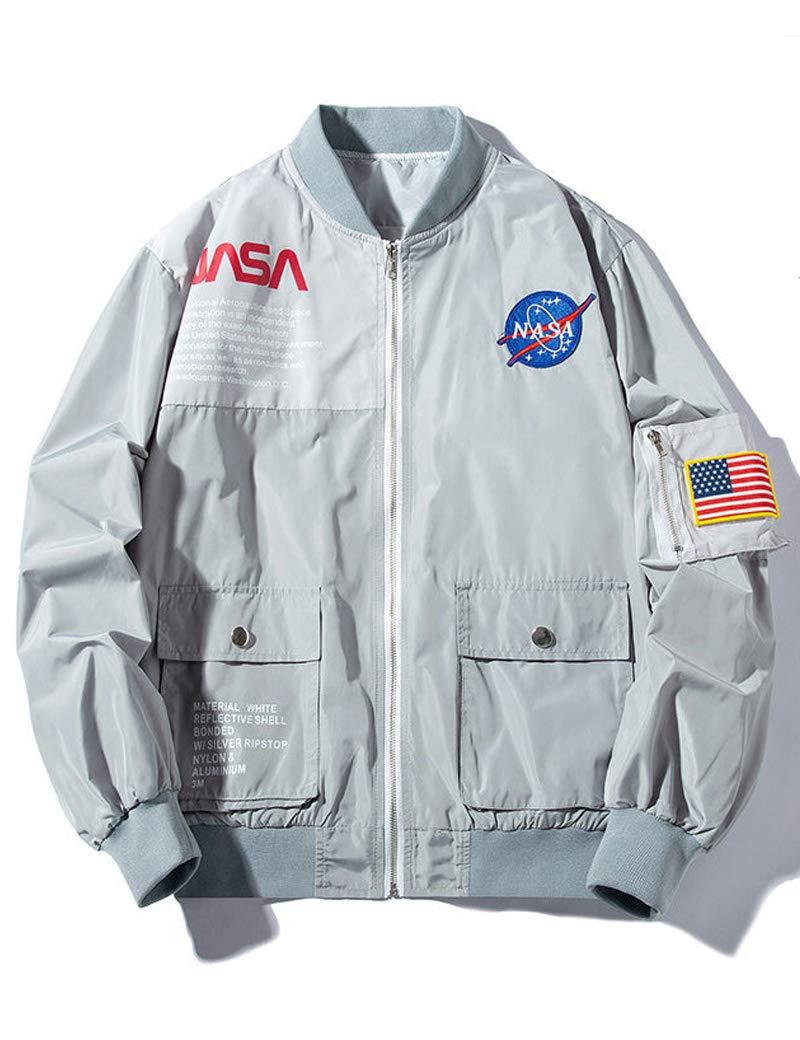 Wildswan Mens MA-1 Jacket NASA Moto Biker Jacket Casual for Autumn Winter Grey B4034B-XXXXL by Wildswan