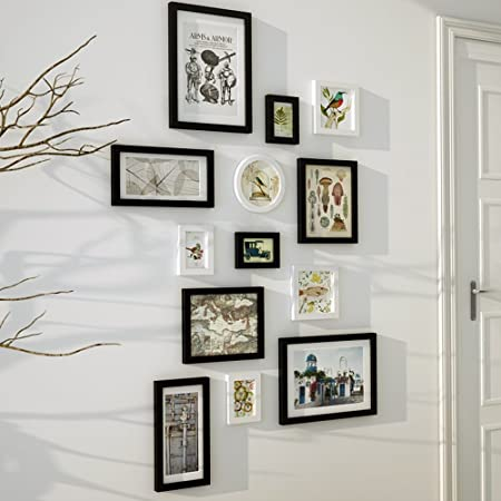 Global 13 Multi Picture Frame Set Modern Style Black White Wooden