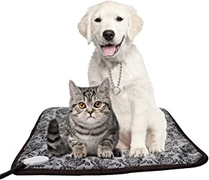 ISABELLA FITZGERALD Pet Heating Pad, Adjustable with Temperature Controller Heated Mat for Dog and Cat, Waterproof pet Cushion Heat Pad and Chew Resistant Dogs Heating pad