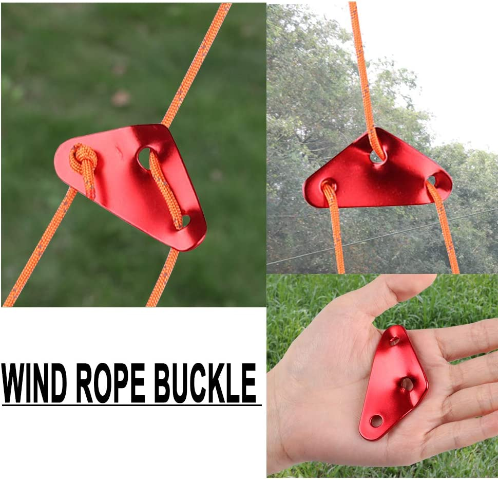 MAGARROW Guyline Cord Adjusters Tent Aluminium Alloy Rope Adjuster Hiking 3 Holes Type Adjusters Red, Triangle Shape, Middle 10-PCS