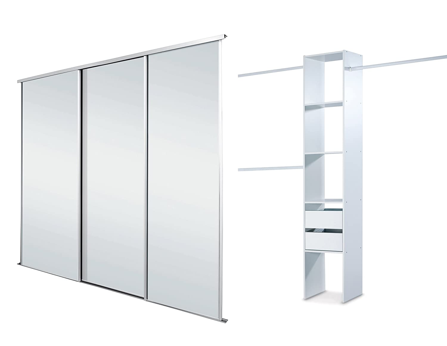 white framed mirror triple sliding wardrobe door kit up to 2692mm