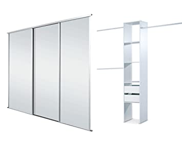 SpacePro White Framed Mirror Triple Sliding Wardrobe Door Kit up to on