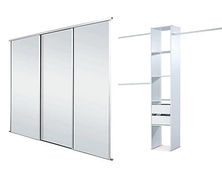 white framed mirror triple sliding wardrobe door kit up to 2692mm
