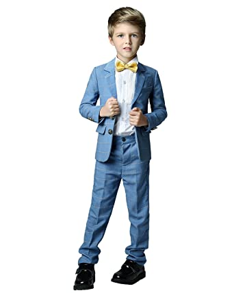 f40444f58438 Yanlu Formal Dress Slim Fit Boys Plaid Suits for Toddler Wedding Size 2T  Blue