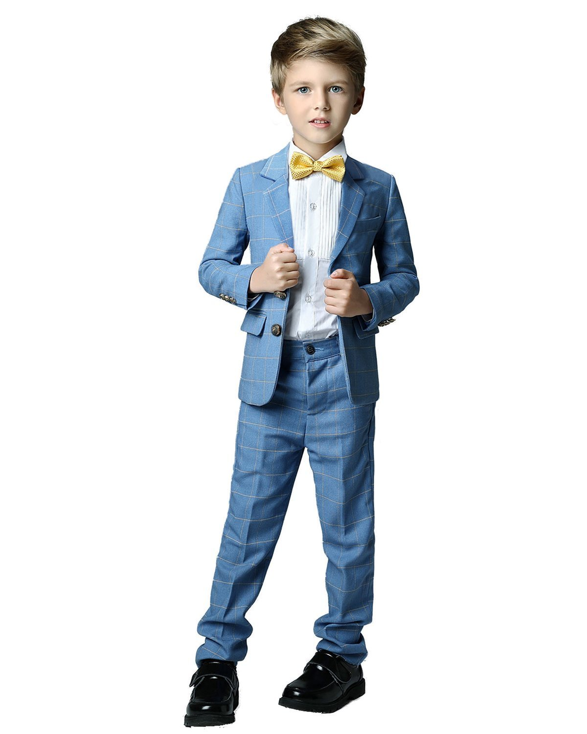 Yanlu Formal Dress Slim Fit Boys Plaid Suits for Toddler Wedding Size 5 Blue