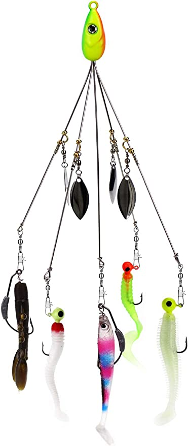 5 Arm 4 Blades Alabama Umbrella Rig  Fishing Bass Lures Bait Kit Random New\