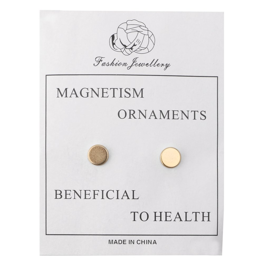 OHTOP 1Pair Weight Loss Healthy Stimulating Acupoints Stud Magnetic Therapy Earrings(Gold,without hole) by OHTOP (Image #4)