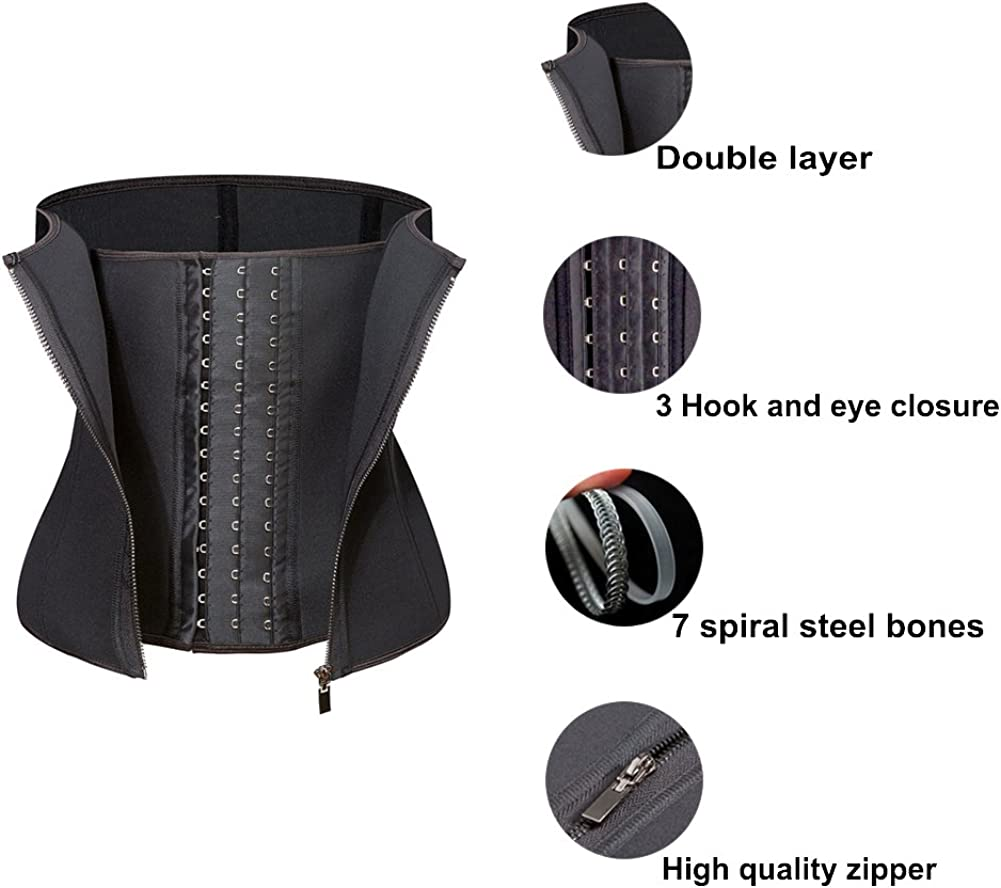 Amazingjoys Waist Trainer Corset for Weight Loss Tummy Control Body Shaper Neoprence Workout Sweat Belt Shapewear for Women