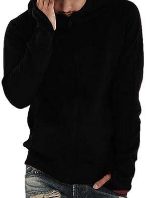 Men's Full Zipper Hooded Sweatshirt Turtleneck Fleece Hoodie Jacket Black