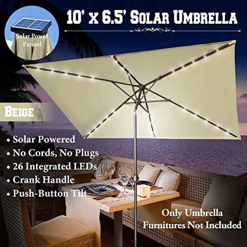 10'x6.5' OUTDOOR SOLAR POWERED 26 LED LIGHTS PATIO UMBREL...