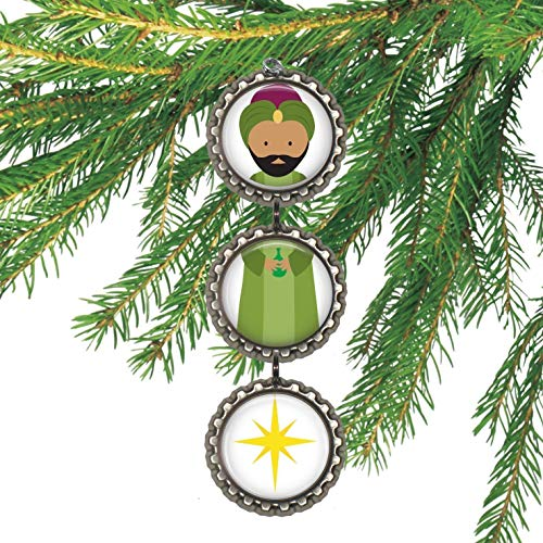 Wiseman Nativity Bottle cap Christmas Ornament