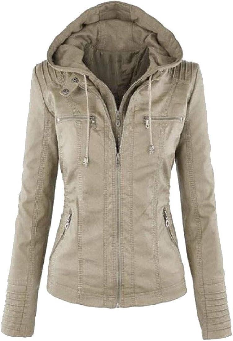 yibiyuan Womens Long-Sleeved Coats PU Faux Leather Hooded Coat Moto