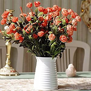 Situmi Artificial Fake Flowers  Decorative Ceramic Vases Garden Parties Orange Camellia Home Accessories 32