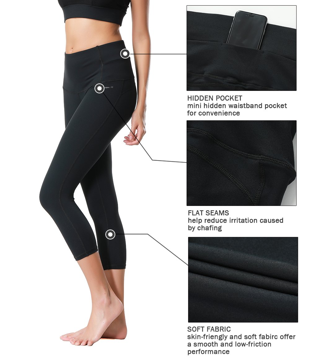 Dragon Fit Compression Yoga Pants Power Stretch Workout Leggings With High Waist Tummy Control, 03black-capri, Large