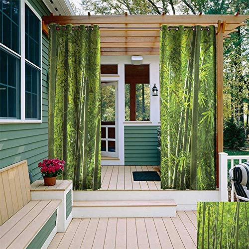 leinuoyi Bamboo, Outdoor Curtain Panels Set of 2, Exotic Tropical Bamboo Forest with Fresh Color Asian Nature Wild Trees and Leaves Print, Outdoor Curtain for Balcony W96 x L96 Inch Green