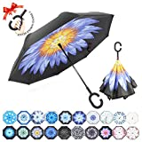 : ZOMAKE Double Layer Inverted Umbrella Cars Reverse Umbrella, UV Protection Windproof Large Straight Umbrella for Car Rain Outdoor With C-Shaped Handle(Blue Chrysanthemum)