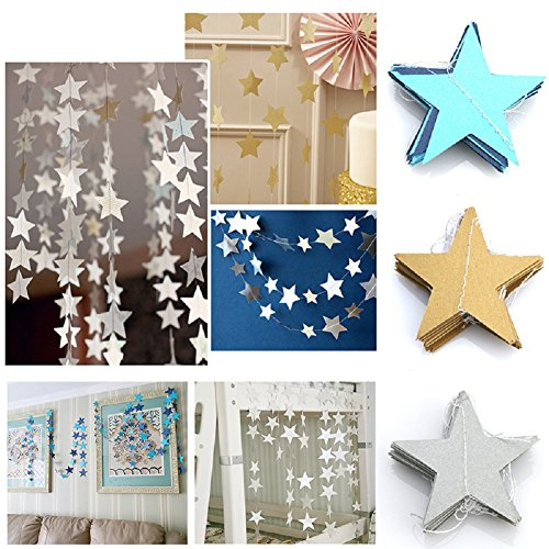 (13Feet Qingsun Star Garland Banners Bunting String Paper Garland Hanging Decoration for Wedding Birthday Party Baby Shower Background Decorative(Multicolor))