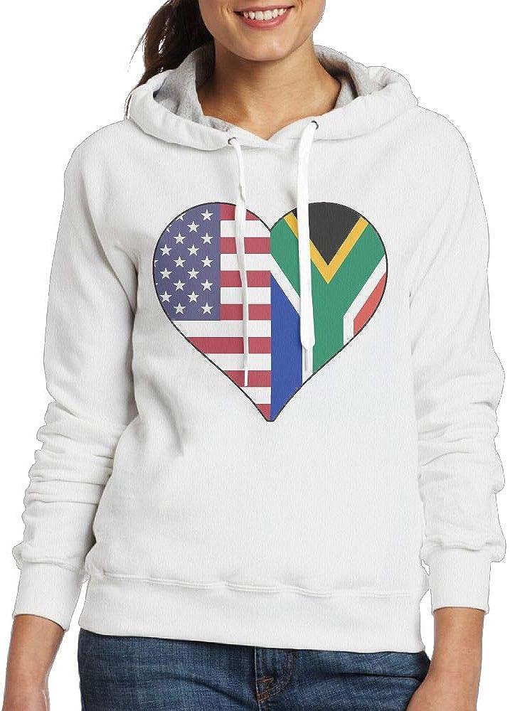 Half South African Flag Half USA Flag Love Heart Pullover Hoodie Ladies Long Sleeve Tops Hooded Sweatshirts