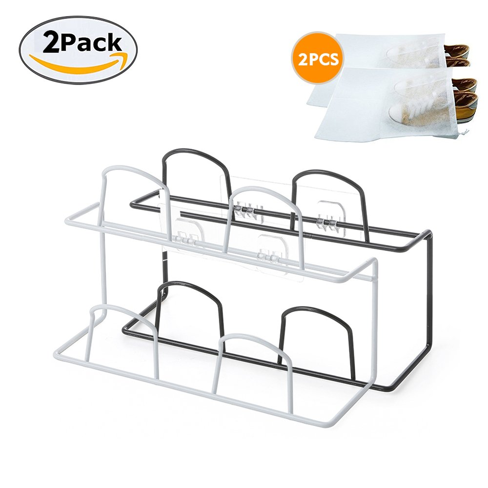 LONGPRO Wall Mounted 2 Tier Shoes Rack Slipper Shelf Storage Organizer Shoes Shelf Holder Sticky Shoe Storage Organizer Wall Shoe Hangers Wall Shoe Hangers Set of 2 Pack for Entryway Bathroom Shower R by Longpro (Image #2)