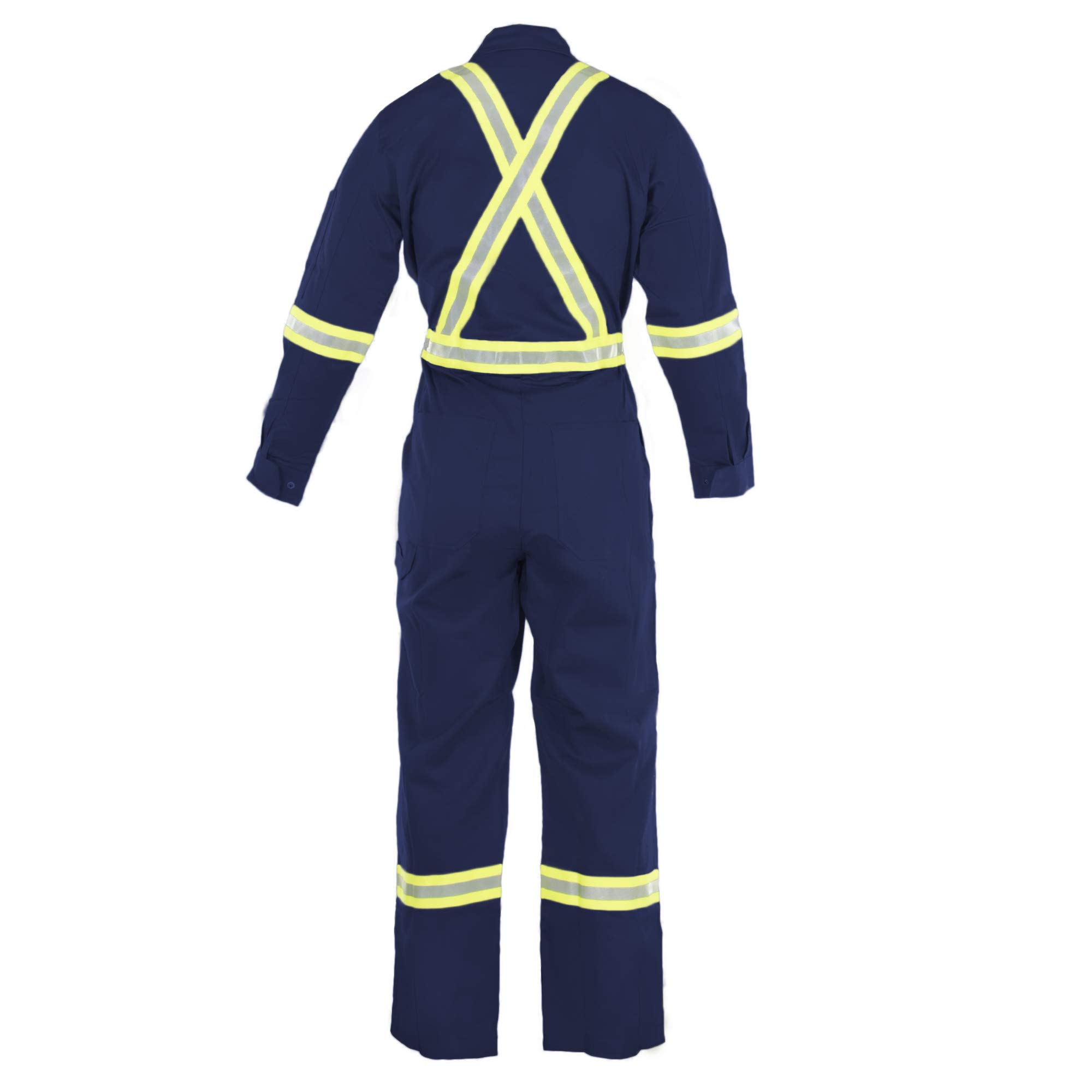 Flame Resistant FR High Visibility Hi Vis Coverall - 88% C/12% N (Large, Navy Blue) by Just In Trend (Image #2)