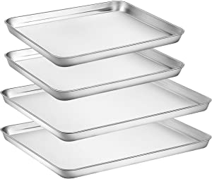 HKJ Chef Large Baking Sheets Sets, Baking Pans For Oven & Stainless Steel Cookie Sheets 4 Pieces & Toaster Oven Tray Pans & Non Toxic & Healthy,Superior Mirror & Easy Clean