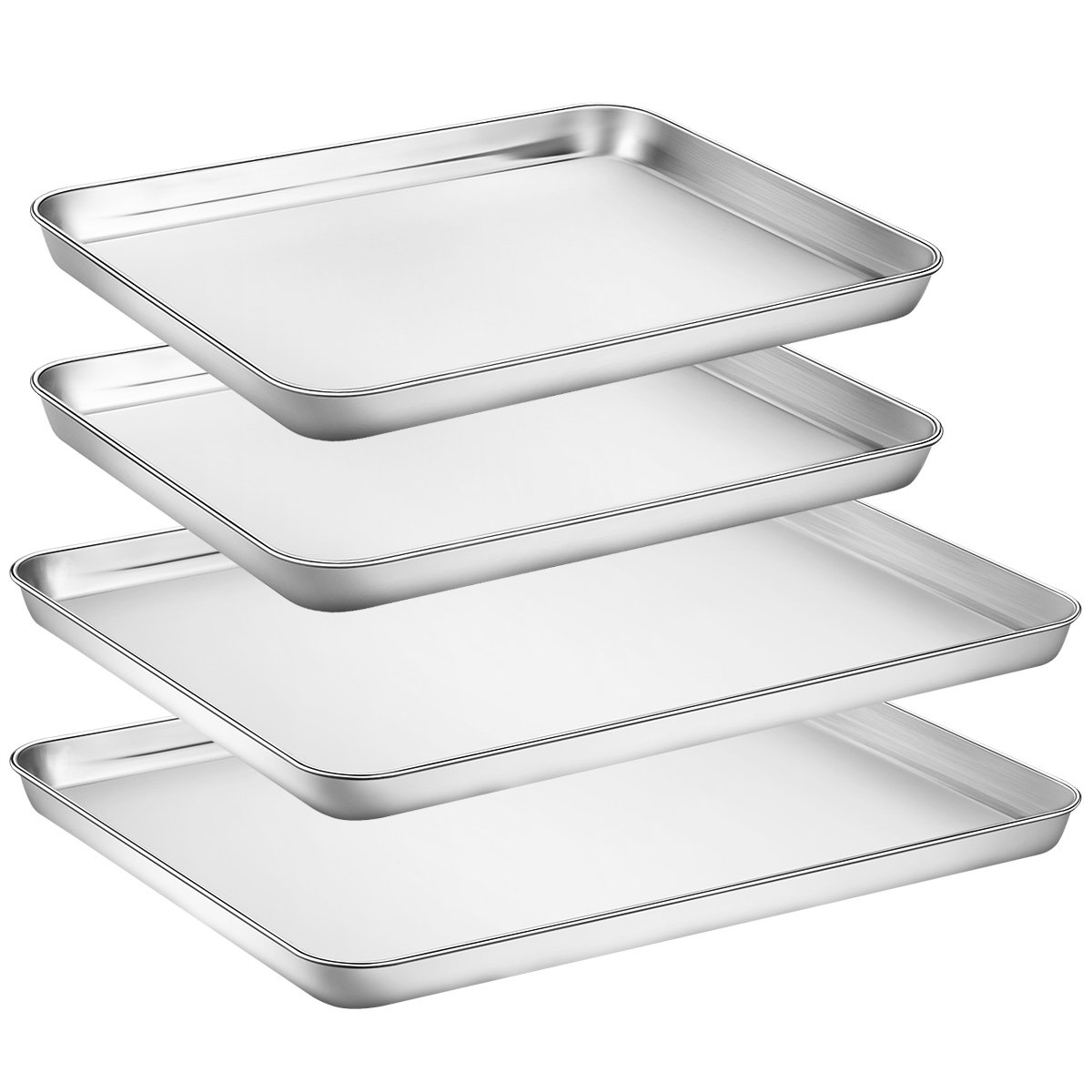 Large Baking Sheets Sets, HKJ Chef Baking Pans For Oven & Stainless Steel Cookie Sheets 4 Pieces & Toaster Oven Tray Pans Non Toxic & Healthy,Superior Mirror & Easy Clean