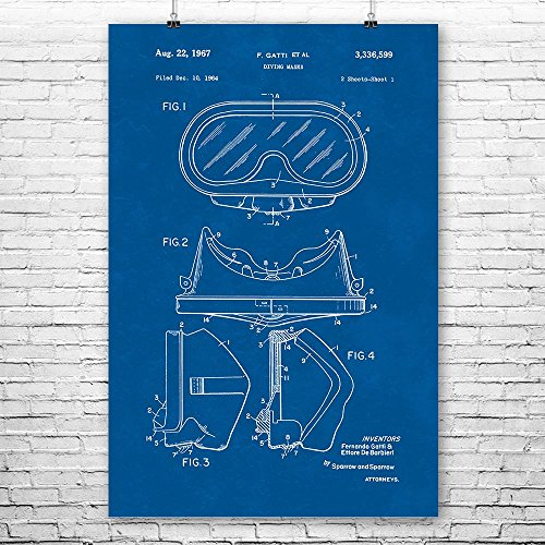 Diving Mask Poster Print, Scuba Diver Gift, Snorkeling Mask, Dive Instructor, Swim Instructor, Scuba Equipment Blueprint (9