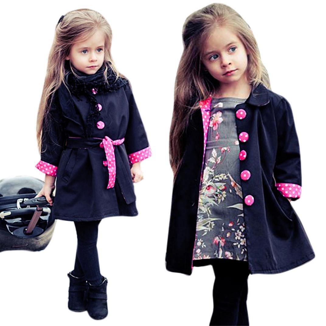 GBSELL Little Girls Toddler Winter Fall Dot Belt Coat Outfits Jacket