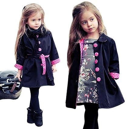 cf54f95a23f3 GBSELL Little Girls Toddler Winter Fall Dot Belt Coat Outfits Jacket (Navy,  2/