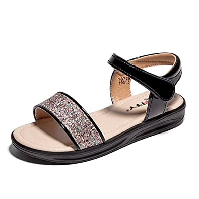 ff00f46cc874 Image Unavailable. Image not available for. Color  Girls Open Toe Gladiator  Sandals Glittle Slip On Summer Outdoor Ankle Strap Hook Flat Sandal Shoes