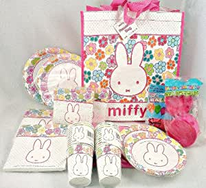 Miffy Bunny Rabbit Theme Birthday Party Kit ~ Extra Large Pack ~ Dinner Plates, Dessert Plates, Table Cover, Large and Small Napkins, Cups, Tote Bag, Balloons, and Streamer Rolls ~ Package Serves 24