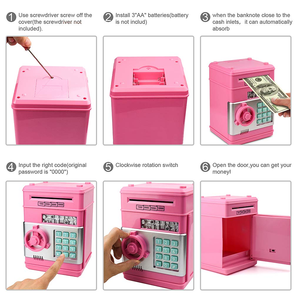 Satevin Piggy Bank, Electronic ATM Password Cash Coin Can Auto Scroll Paper Money Saving Box Toy Gift for Kids by Satevin (Image #5)