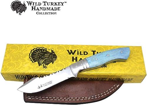 Wild Turkey Handmade Collection Full Tang Fixed Blade Real Bone Handle Skinner Knife w Leather Sheath