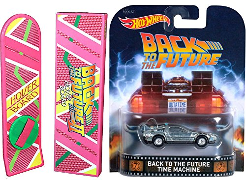 Back to the Future Hot Wheels Retro Entertainment Car Time Machine DeLorean & Hover Movie Prop Replica (does not (Back To The Future Costume Halloween)