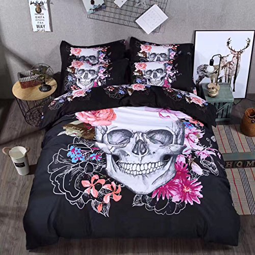 Sandyshow 2PC Skull Bedding Twin Microfiber Duvet Cover Set (Twin, Skull)