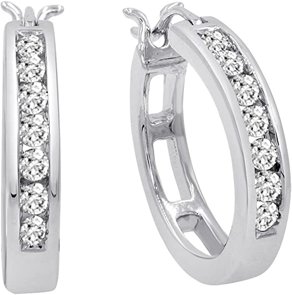 23c5f8939 Amazon.com: AGS Certified 1/2ct TW Diamond Hoop Earrings in 10K ...