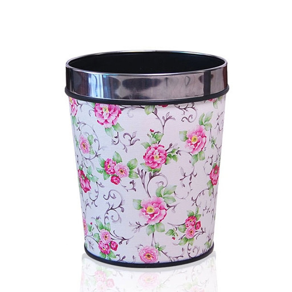 CSQ Bedroom Trash Can, Stylish Pu Household Without Cover Trash Can Creative Hotel WC Pressure Ring Office Trash Can 6-9L (Color : D, Size : 6L)