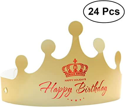 24x Golden Crown Hats Birthday Hats Caps for Kids Adult Paper Party