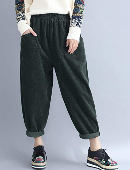 cc8695f6964eaf Flygo Womens Corduroy Pants Elastic Waist Loose Fit Wide Leg Pant at Amazon  Women's Clothing store: