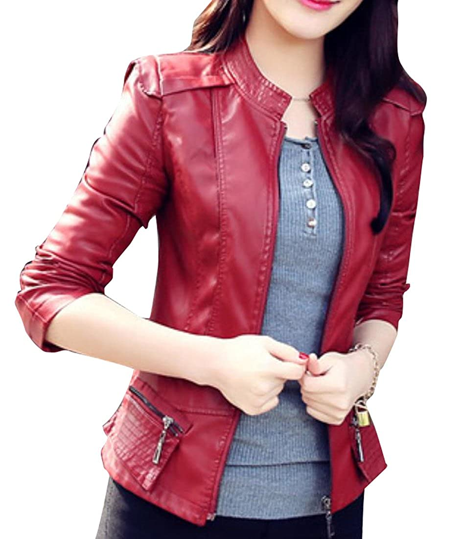 BU2H Womens Slim Fit PU Faux Leather Motorcycle Biker Jacket Coat
