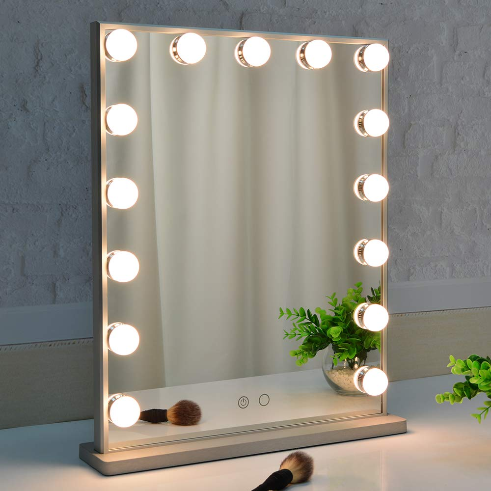 BEAUTME Makeup Mirror with Lights,Hollywood Vanity Mirror with 15pcs Adjustable Led Lights,Tabletop or Wall Mounted Dressing Illuminated Cosmetic Beauty Mirror Adjustable Brightness