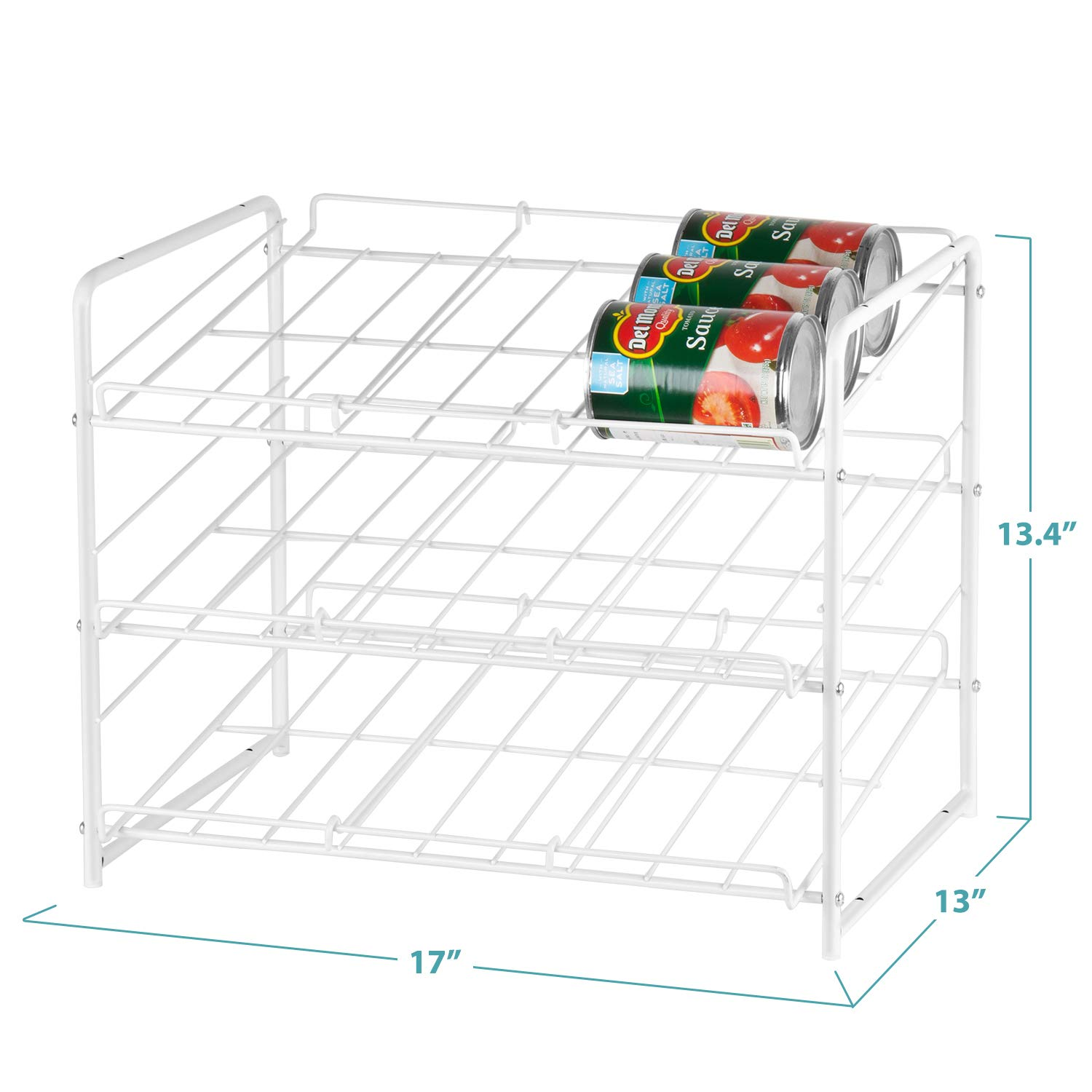 Pantry Organization And Storage Dispenser Holds 36 Soda Cans Or Canned Food Metal White Bextsware Stackable Can Rack Organizer For Kitchen Cabinet