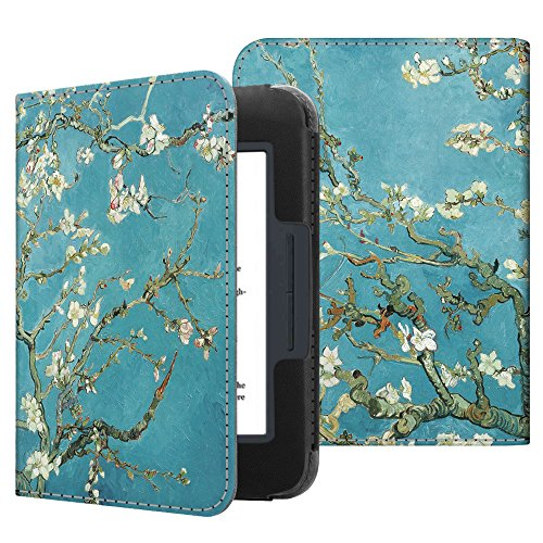 Fintie Nook GlowLight 3 Case - Slim Fit Premium Vegan Leather Folio Cover for Barnes & Noble Nook GlowLight 3 eReader 2017 Release (Model# BNRV520), Blossom