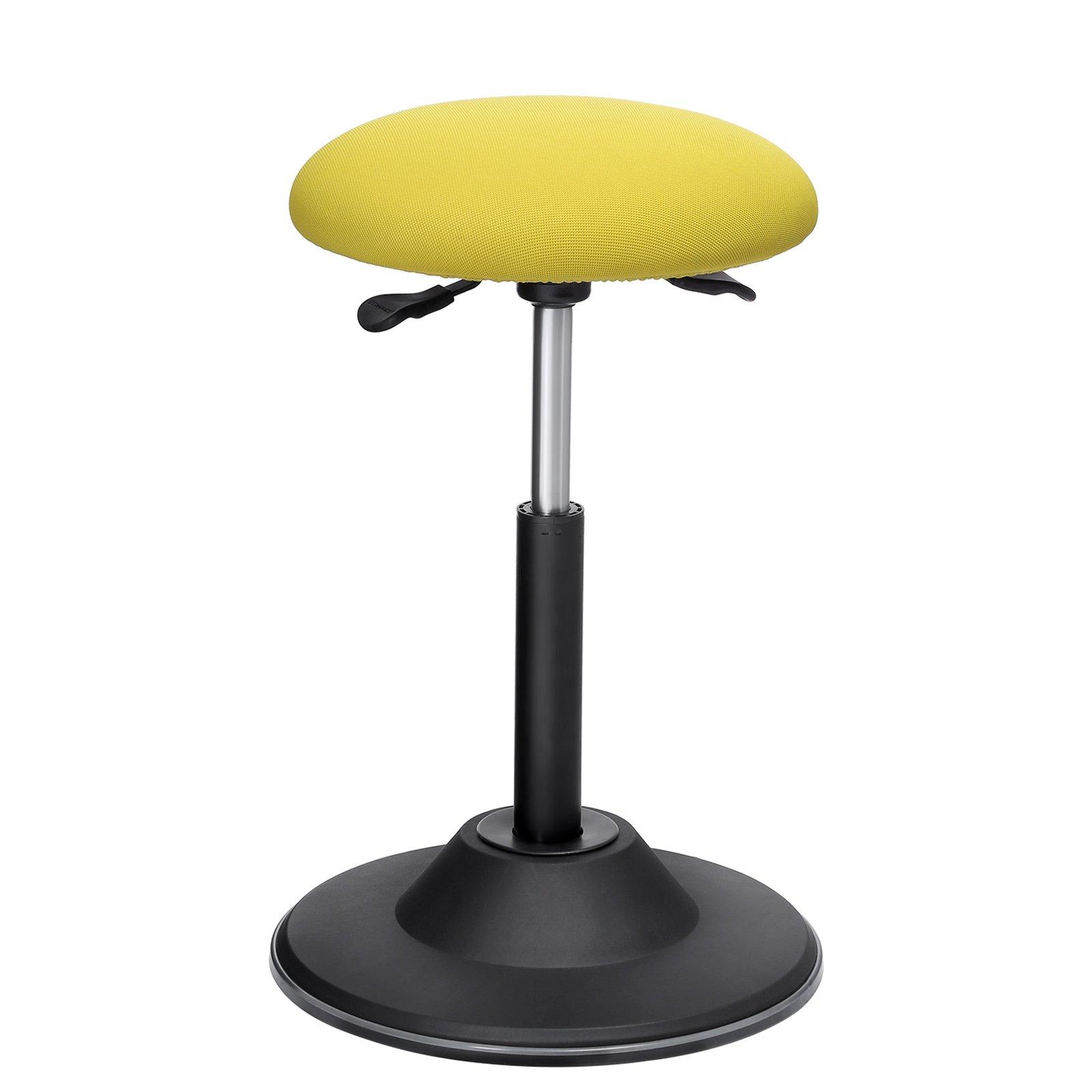 SONGMICS Standing Desk Chair, Adjustable Height Ergonomic Standing Stool, 360° Swivel Sitting Balance Chair, Anti-Slip Bottom Pad, Sit-Stand Stool for Office Home School, Fabric Yellow UOSC01GN