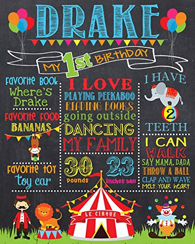 Dozili Personalized Circus First Birthday Chalkboard Style Metal Sign Circus and Carnival 1st Birthday Chalk Board Sign Printable Photo Prop