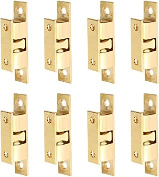 KUPINK Ball Tension Catch Cabinet Cupboard Door Catch Furniture Latch Cupboard Door Catches Solid Bright Brass Finished for Cabinet Closet Furniture Door with Screws