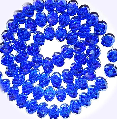 New Dark Sapphire Blue AB 10mm Rondelle Faceted Cut Crystal Glass Jewelry-Making Bead 22-inch DIY Craft Supplies for Handmade Bracelet Necklace