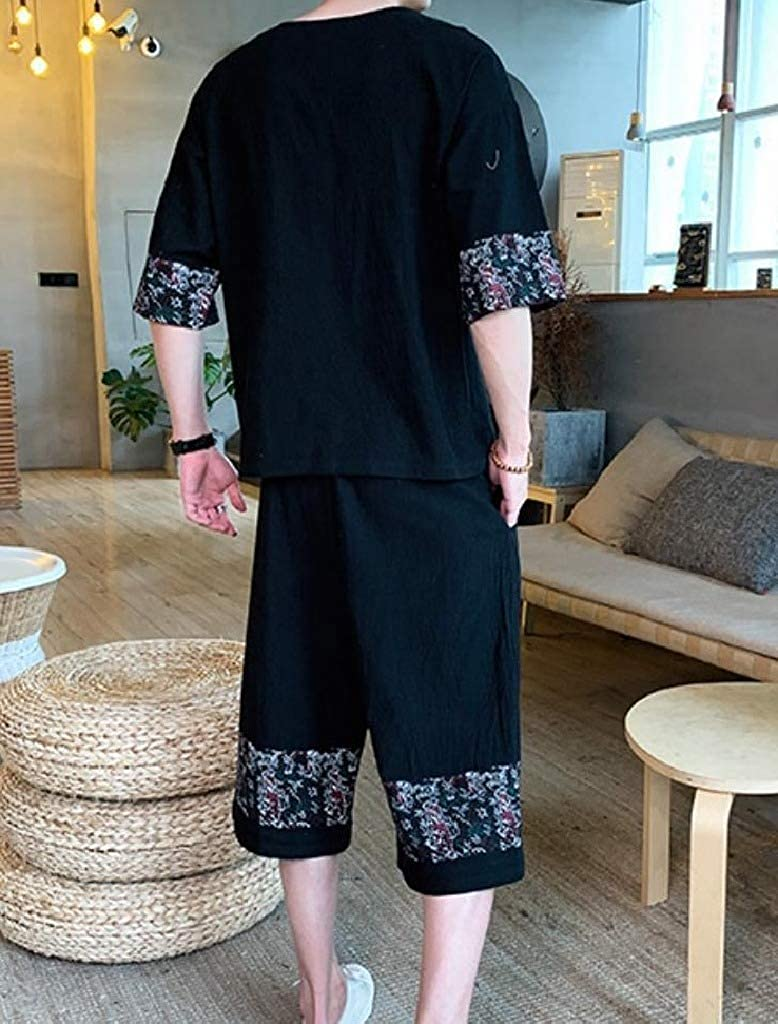 Comaba Mens Capri Loose Oversized Linen Blouse Tops Chinese Style 2-Piece